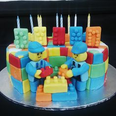 Lego cake (Bloemfontein cake & cupcakes) Lego Cake, Fondant Decorations, Fondant Cupcakes, Cupcake Toppers, Icing, Cake Decorating, Birthday Cake, Desserts, Food