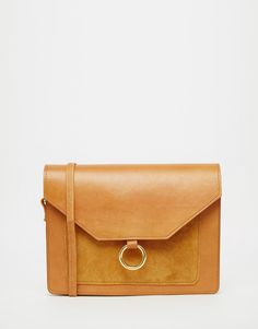 ASOS+Vintage+Leather+Cross+Body+Bag+With+Metal+Ring+Detail