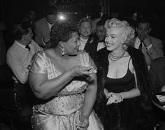 Ella Fitzgerald and Marilyn Monroe listening to jazz at Hollywood's Tiffany Club in 1955