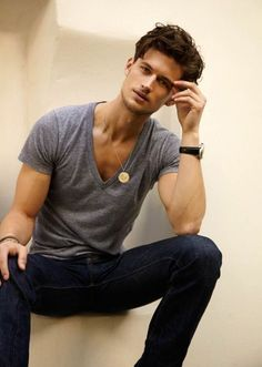grey v-neck & jeans -- simple & classic #casualwear #menfashion