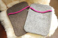 Handmade tweed wool iPad covers cases lined in pink. Dublin.