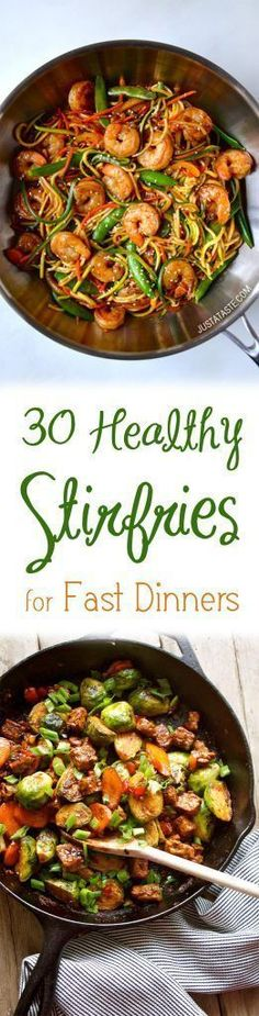 These healthy stirfries will help you use up any bits and pieces from the week that you have lying in your fridge and get dinner on the table FAST.
