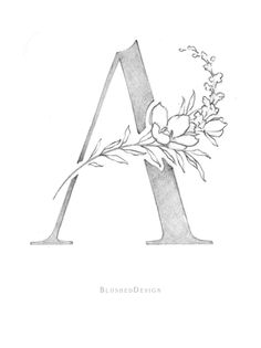 Jumping into the a little late! I'm going to be a little less extreme than everyone else and just try to complete this whole alphabet (same style/media) without getting lazy and photoshopping the whole thing! But it's going to be slow Diy Monogram, Monogram Design, Monogram Letters, Initial Art, Illustration Main, Floral Illustrations, Monogram Painting, Wedding Initials, Floral Letters
