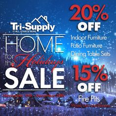 Right now, save 20% on Patio Furniture, Dining Tables & Chairs, Indoor Furniture, and Save 15% on all Fire Pits.