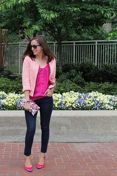 2 Girls in 2 Cities pink tweed and floral clutch from Sew Help Me by Marissa on Etsy