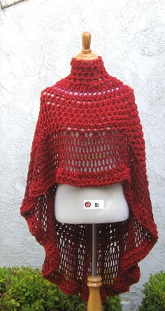 BURGUNDY TURTLENECK PONCHO Crochet Fall Winter by marianavail, $95.00
