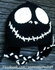 Knitting and Crochet Patterns: Jack Skellington Face Crochet Skull, Crochet Shoes, Crochet Beanie, Crochet Scarves, Crochet Baby, Free Crochet, Knit Crochet, Crocheted Hats, Jack Skellington