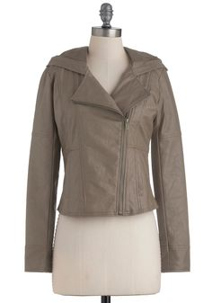 Hit the Bricks Jacket in Stone by Jack by BB Dakota - Short, Grey, Solid, Long Sleeve, Cocktail, Pockets, Urban, Fall
