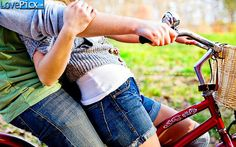 Love Couple Back Hug Bicycle Cute