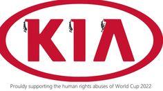 Anti-logo Kia - Copa 2022  Homens caem das letras da KIA, em alusão aos acidentes de trabalho nas obras da Copa.
