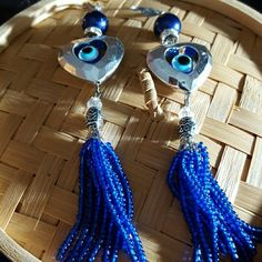 Watchful protective Evil Eye Earrings lever backs Pewter - Evil Eyes- Sea beads Tassel earrings - Surgical steel lever back ear wires - Ancient Egyptian inspired.  Comes with one free inspirational refrigerator magnet. Jewelry Earrings