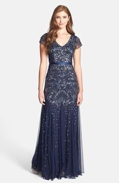 Adrianna Papell Navy Blue Beaded And Sequin Cap Sleeve Gown