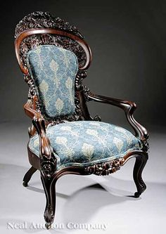 Fine American Carved Rosewood & Laminated Armchair...could be Belter