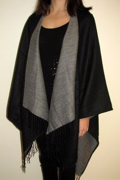 Black & Grey Reversible Wool Ruana Cape Wrap