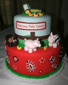 Farm Animal Baby Shower Cake
