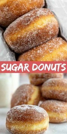 Simple Homemade Sugar Donuts Sugar Donuts – This simple homemade donut dough is made with flour, milk, yeast, and sugar, then the donuts are fried and dredged in sugar. This recipe is easy to make and produces a very indulgent little treat! Coconut Dessert, Bon Dessert, Dessert Aux Fruits, Homemade Doughnut Recipe, Baked Doughnut Recipes, Sugar Doughnuts Recipe, Simple Donuts Recipe, Donuts Donuts, Homemade Doughnuts Easy
