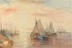 James Baker Pyne (1800-1879), Shipping in a Calm.