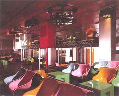 Interior of Piper, infamous 1960s Italian Nightclub in Rome, designed by Pietro Derossi, Giorgio Ceretti and Riccardo Rosso, 1966. 1960s Italy European Nightlife Discotheque