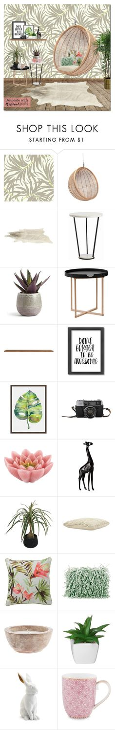"""""""Tropical Prints"""" by justlovedesign ❤ liked on Polyvore featuring interior, interiors, interior design, home, home decor, interior decorating, .wireworks, Americanflat, Pottery Barn and Pink Lotus"""