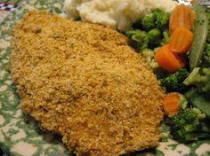 good idea—use italian salad dressing as the liquid to make breadcrumbs/seasonings stick to the fish.