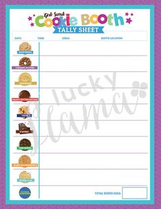 ABC Cookie Booth Tally Sheet
