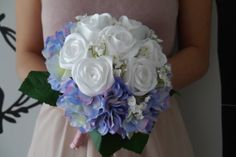 White & Purple Satin Ribbon Rose Bouquet with by CuriousPetals, £35.00