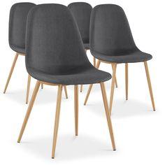 Lot de 4 chaises scandinaves Gao Tissu Gris
