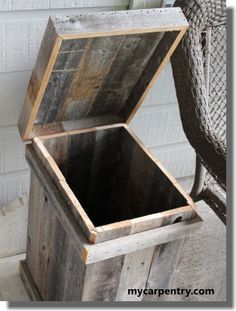 pallet garbage can tutorial. this would be great to have a small one near each chair. work comes with instructions