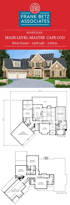River Forest: 2978 sqft, 5 bdrm, main-level-master Cape Cod style house plan design by Frank Betz Associates Inc.