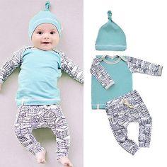 >> Click to Buy << 3pcs Cotton Newborn Baby Boy Girl Tops T-shirt+Pants Legging Hat Outfits Set Palysuit #Affiliate