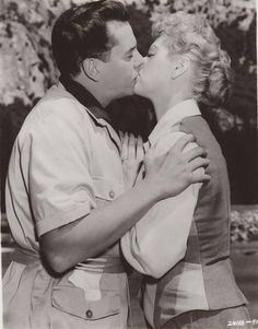 Desi Arnaz & Lucille Ball kissing at the end of their movie Forever Darling