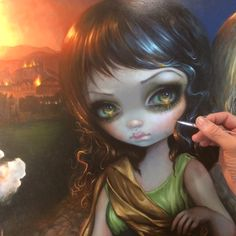 "WIP for my ""Dress of Sinners, Dress of Saints"" acrylic painting debuting July 28 at my ""Magical Thinking"" Solo Show at Corey Helford Gallery in LA. #strangeling #jasminebecketgriffith #art #coreyhelfordgallery #wip #workinprogress #acrylicpainting #sinners #saints #magicalthinking #dtla #popsurrealism #popsurrealist #newcontemporary #newcontemporaryart #fantasyart #surrealism #art #painting #acrylics #artist #medieval #renaissance #beautifulbizarre #angel #bigeyes #bigeyeart #lowbrowart"