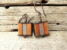 Ceramic Tube Copper Earrings by annamei on Etsy