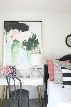 writing desk with abstract artwork