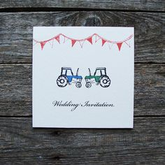 Tractors Wedding Invitations by afarmersdaughteruk on Etsy Traditional Wedding Invitations, Creative Wedding Invitations, Classic Wedding Invitations, Wedding Stationery, Tractor Wedding, Farm Wedding, Rustic Wedding, Wedding Stuff, Wedding Cards