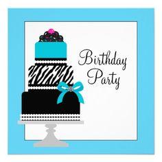 Teal Blue Zebra Cake Cupcake Birthday Party Custom Announcement