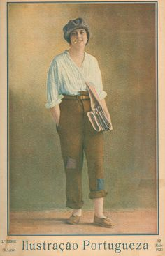 1923 - Ilustração Portuguesa  Cross dressing as a newspaper seller