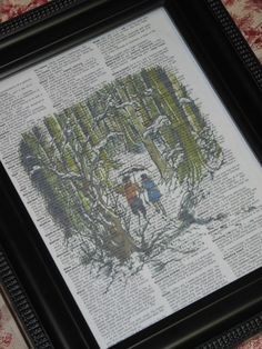 This 8 x 10 print of a scene from Narnia is on a vintage dictionary page. Each print is individually printed on a unique dictionary page.