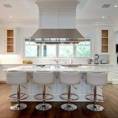 Island with white Leather Barrel Back Counter Stools, Transitional, Kitchen