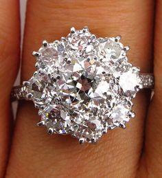 2.72CT ANTIQUE VINTAGE EDWARDIAN DIAMOND ENGAGEMENT CLUSTER RING PLAT EGL USA #SolitairewithAccents
