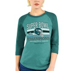 Women s Majestic Threads Green Philadelphia Eagles Super Bowl LII Champions  Tri-Blend Raglan 3 4-Sleeve T-Shirt 963acddd9