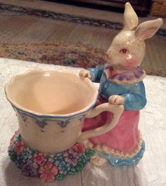 Adorable Vintage Colorful Mama Easter Bunny in Front of Cup in Flower Garden with Beautiful Vintage Crazing - pinned by pin4etsy.com