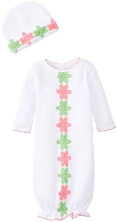 6c209f30047c22 Mud Pie Baby-Girls Newborn Daisy Crochet Sleep Gown with Hat Set, White/