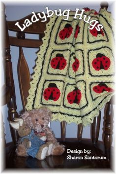 Ladybug Hugs Crochet Baby Afghan or Blanket Pattern PDF.