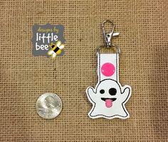 ghost cute funny emoji MINI snap tab key fob by designsbylittlebee