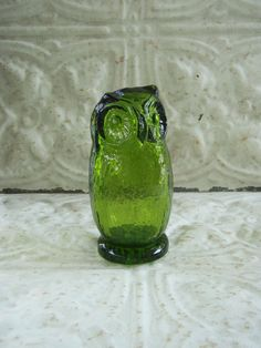 a green glass vintage owl?  yes, please!