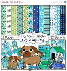 40 Off SALE Dog Digital Scrapbook Kit I Love by DigiScrapDelights