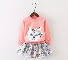 Autumn section piece fitted girls children Korean wild cartoon kitty skirt suit