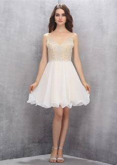Short Length Sleeveless V-neck Open Back Chiffon White Crystals A-line Ruched Homecoming / Cocktail Dresses