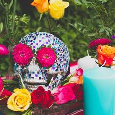 This beautifully decorated skull makes the the perfect centrepiece for a mexican themed wedding.
